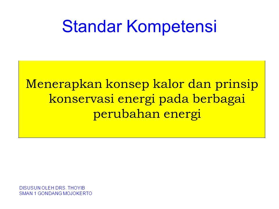 Standar Kompetensi DISUSUN OLEH DRS. THOYIB SMAN 1 GONDANG MOJOKERTO Menerapkan konsep kalor dan prinsip konservasi energi pada berbagai perubahan ene