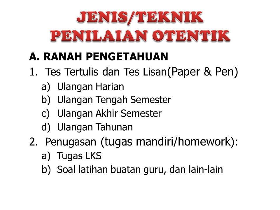 A. RANAH PENGETAHUAN 1. Tes Tertulis dan Tes Lisan (Paper & Pen) a) b) c) d) Ulangan Harian Ulangan Tengah Semester Ulangan Akhir Semester Ulangan Tah
