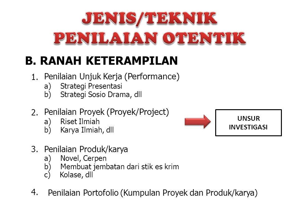 B. RANAH KETERAMPILAN 1. Penilaian Unjuk Kerja (Performance) a) Strategi Presentasi b) Strategi Sosio Drama, dll 2. Penilaian Proyek (Proyek/Project)