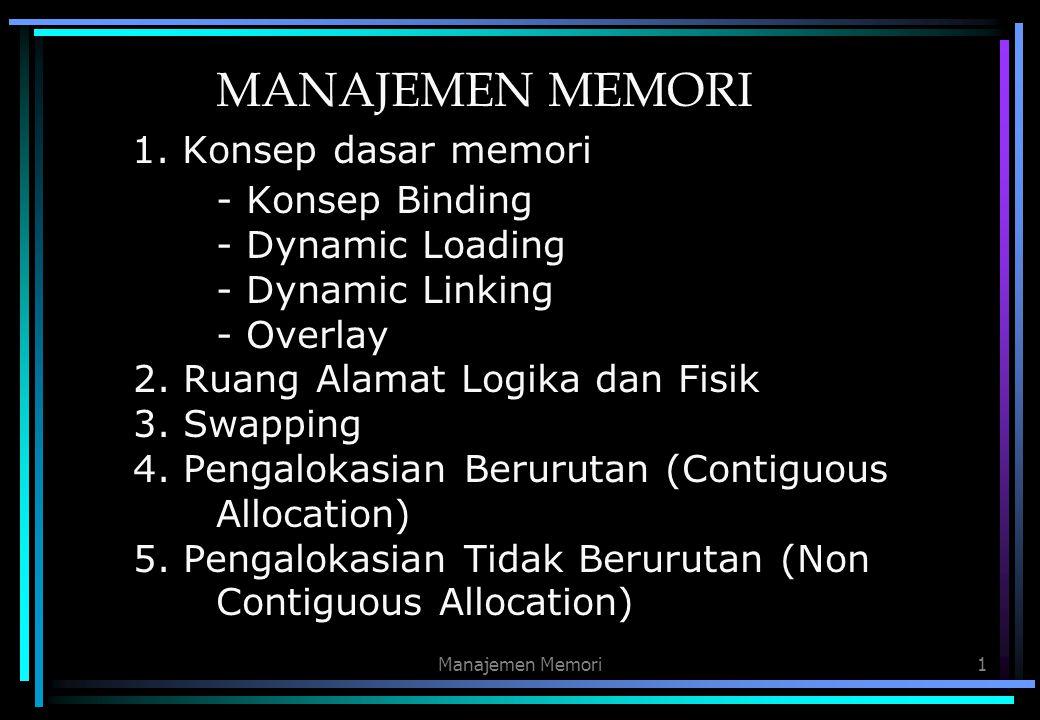 Manajemen Memori1 MANAJEMEN MEMORI 1. Konsep dasar memori - Konsep Binding - Dynamic Loading - Dynamic Linking - Overlay 2. Ruang Alamat Logika dan Fi