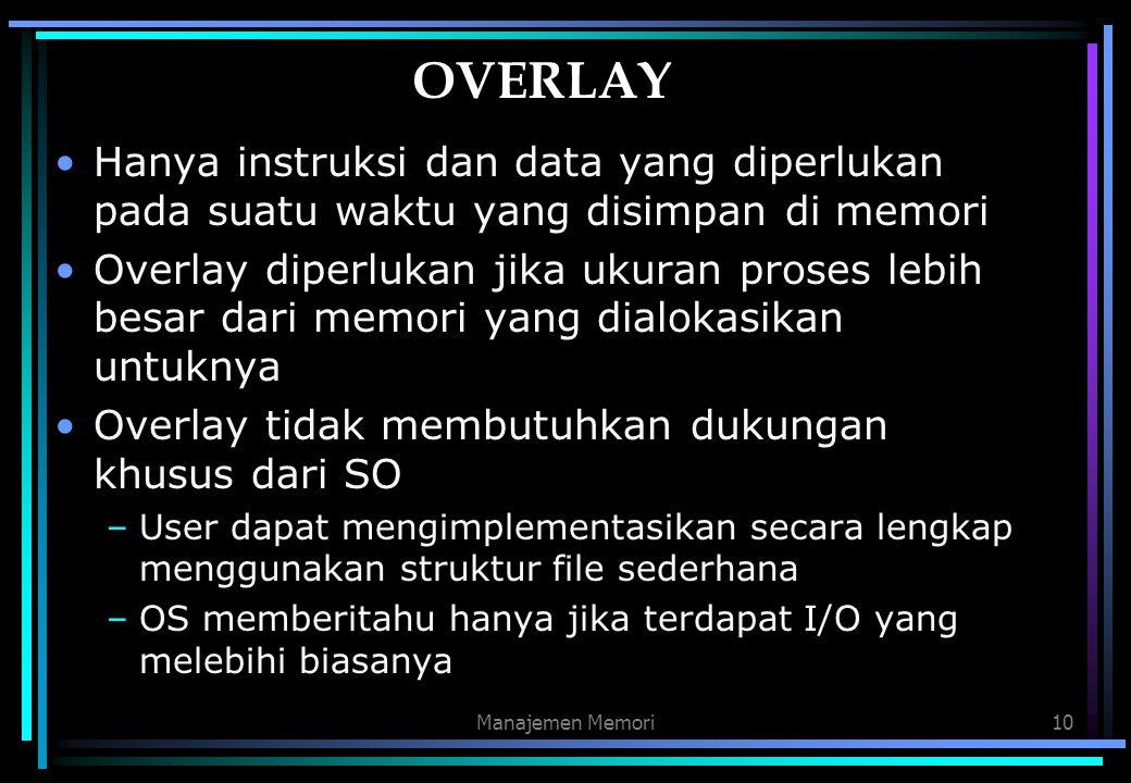 Manajemen Memori10 OVERLAY Hanya instruksi dan data yang diperlukan pada suatu waktu yang disimpan di memori Overlay diperlukan jika ukuran proses leb