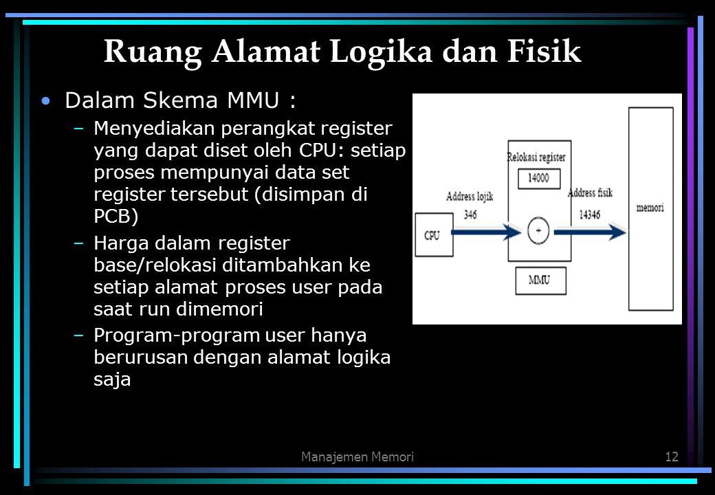Manajemen Memori12 Ruang Alamat Logika dan Fisik Dalam Skema MMU : –Menyediakan perangkat register yang dapat diset oleh CPU: setiap proses mempunyai