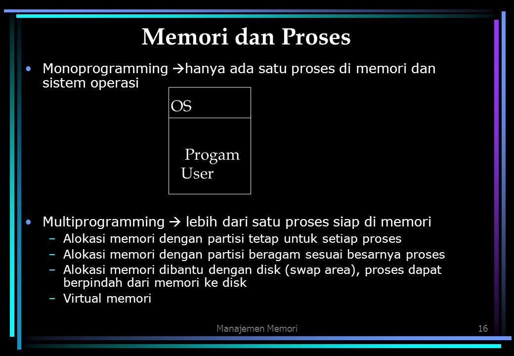Manajemen Memori16 Memori dan Proses Monoprogramming  hanya ada satu proses di memori dan sistem operasi Multiprogramming  lebih dari satu proses si