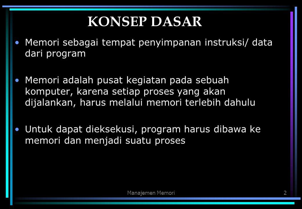 Manajemen Memori2 KONSEP DASAR Memori sebagai tempat penyimpanan instruksi/ data dari program Memori adalah pusat kegiatan pada sebuah komputer, karen