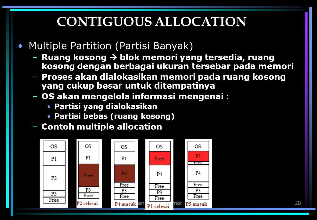 Manajemen Memori20 CONTIGUOUS ALLOCATION Multiple Partition (Partisi Banyak) –Ruang kosong  blok memori yang tersedia, ruang kosong dengan berbagai u
