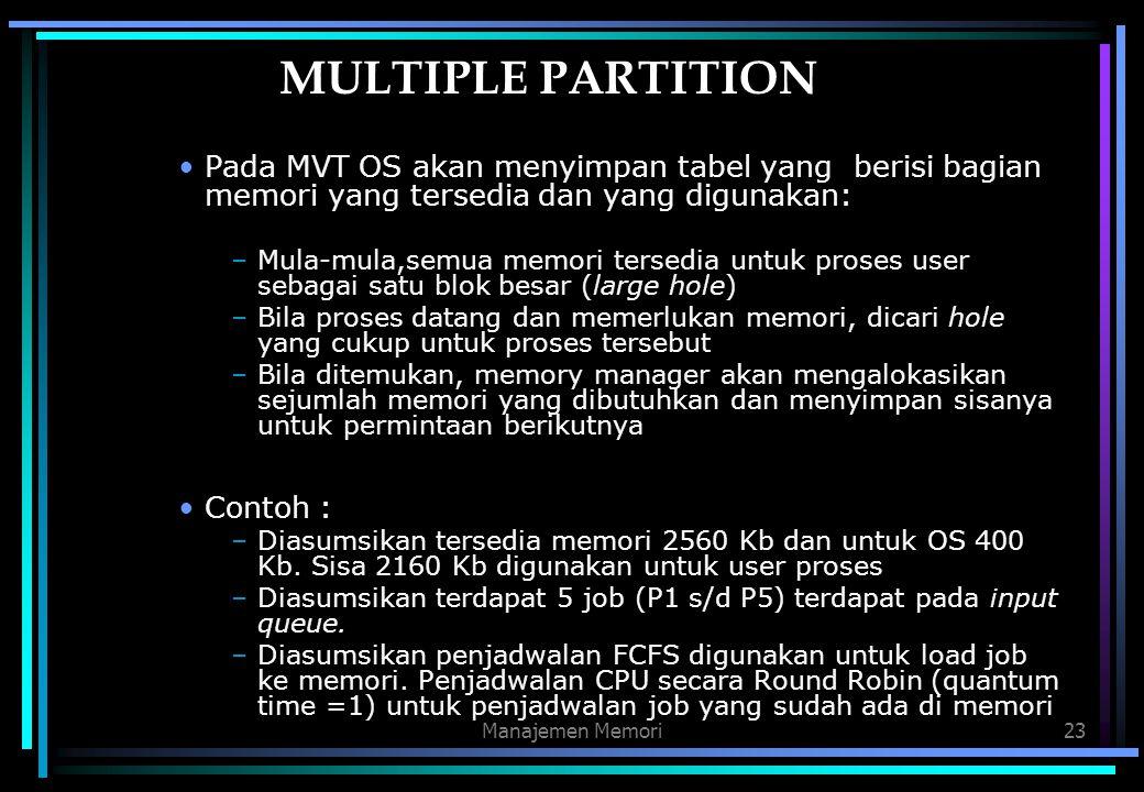 Manajemen Memori23 MULTIPLE PARTITION Pada MVT OS akan menyimpan tabel yang berisi bagian memori yang tersedia dan yang digunakan: –Mula-mula,semua me
