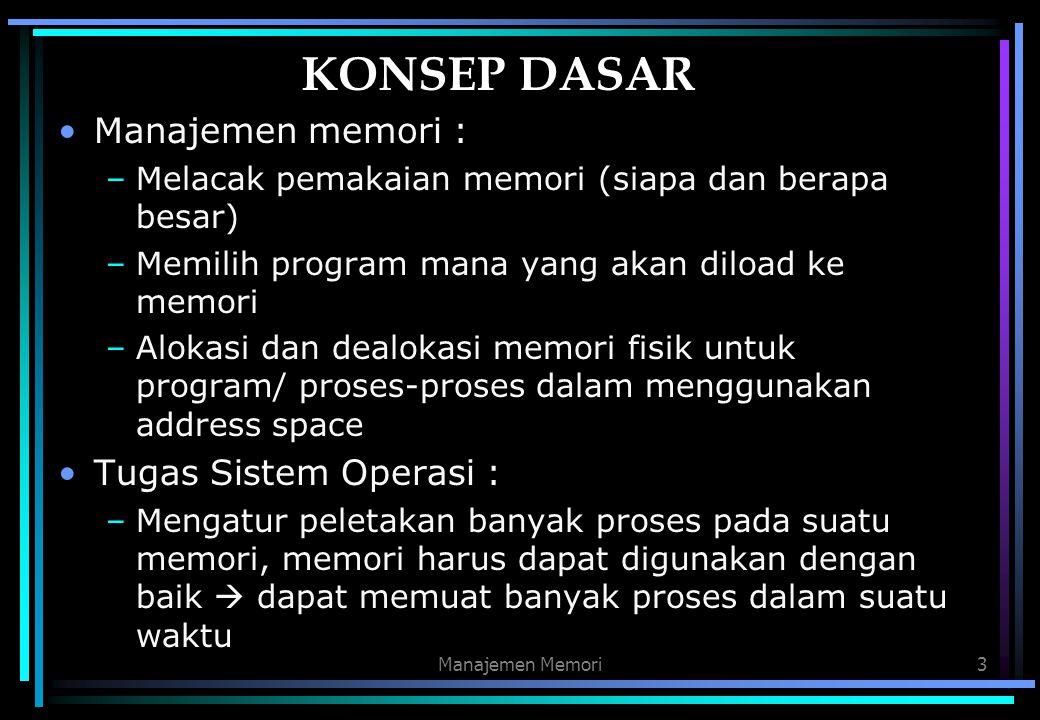Manajemen Memori3 KONSEP DASAR Manajemen memori : –Melacak pemakaian memori (siapa dan berapa besar) –Memilih program mana yang akan diload ke memori
