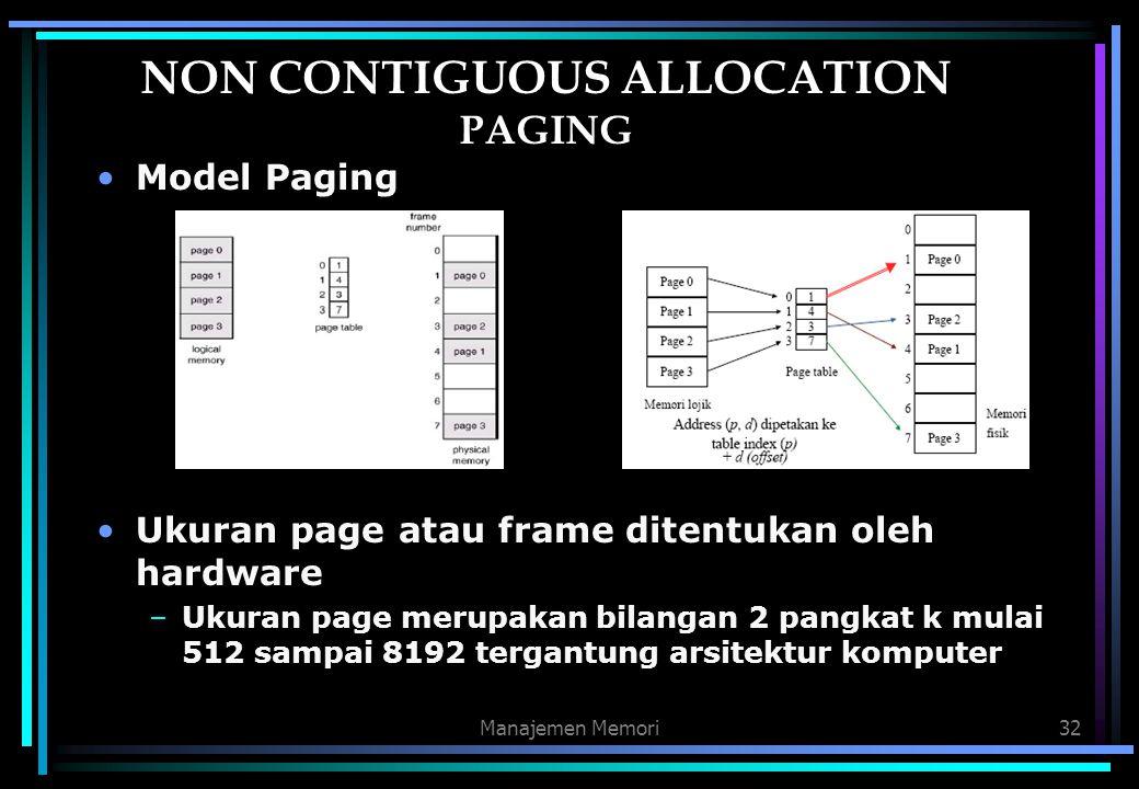 Manajemen Memori32 NON CONTIGUOUS ALLOCATION PAGING Model Paging Ukuran page atau frame ditentukan oleh hardware –Ukuran page merupakan bilangan 2 pan