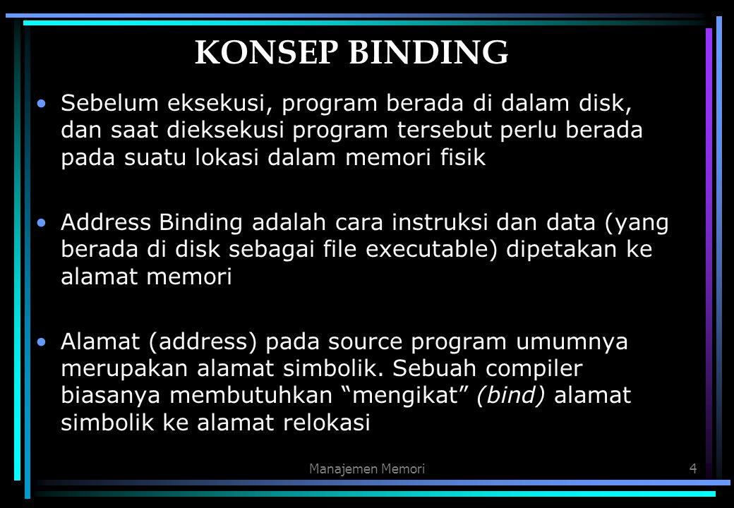Manajemen Memori4 KONSEP BINDING Sebelum eksekusi, program berada di dalam disk, dan saat dieksekusi program tersebut perlu berada pada suatu lokasi d