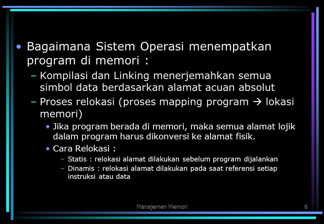 Manajemen Memori6 Bagaimana Sistem Operasi menempatkan program di memori : –Kompilasi dan Linking menerjemahkan semua simbol data berdasarkan alamat a
