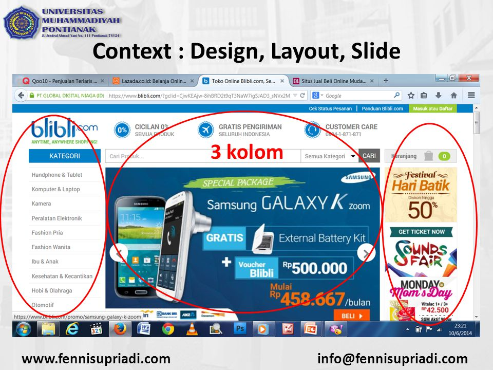 Context : Design, Layout, Slide 3 kolom
