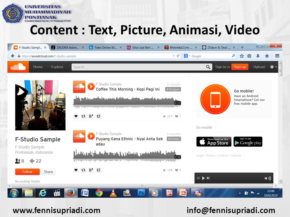 Content : Text, Picture, Animasi, Video