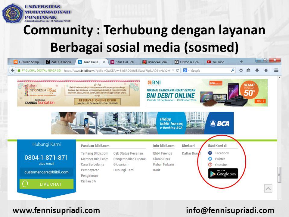 Community : Terhubung dengan layanan Berbagai sosial media (sosmed) www.fennisupriadi.cominfo@fennisupriadi.com