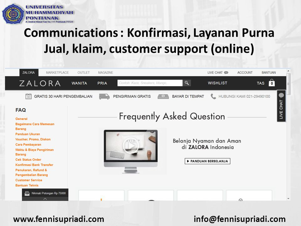 Communications : Konfirmasi, Layanan Purna Jual, klaim, customer support (online)