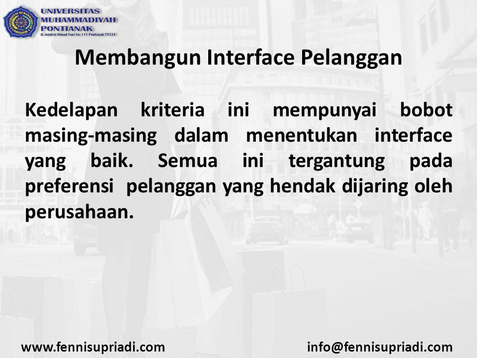 Membangun Interface Pelanggan Kedelapan kriteria ini mempunyai bobot masing-masing dalam menentukan interface yang baik.
