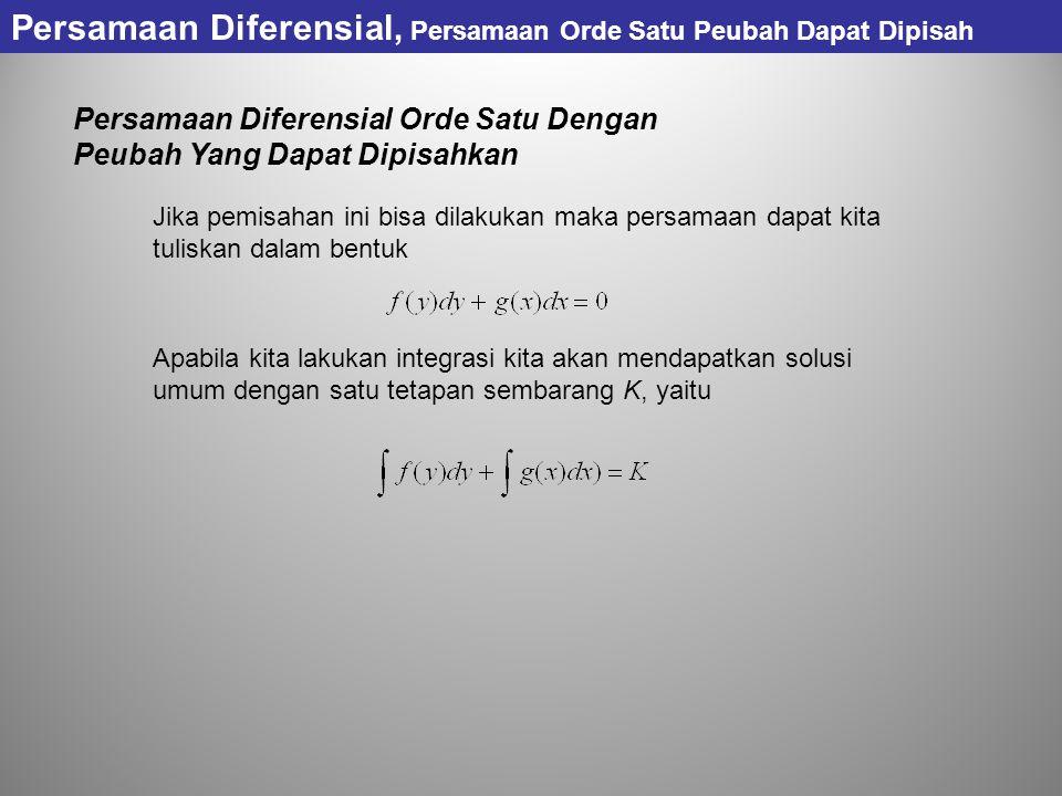 Persamaan Diferensial, Persamaan Orde Satu Peubah Dapat Dipisah Persamaan Diferensial Orde Satu Dengan Peubah Yang Dapat Dipisahkan Jika pemisahan ini
