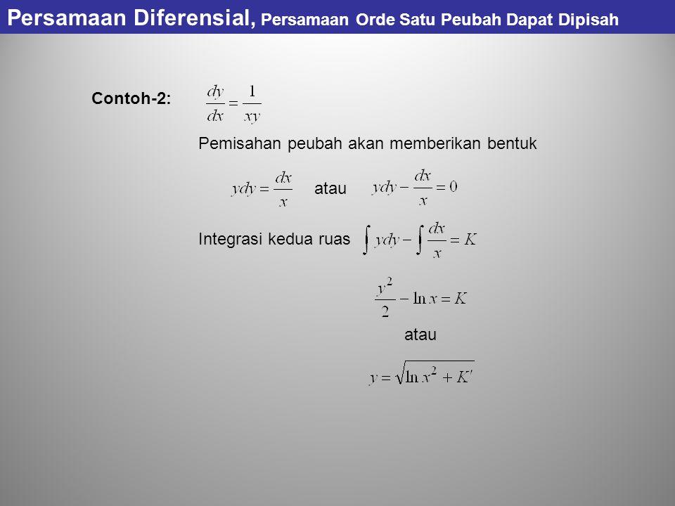 Contoh-2: Pemisahan peubah akan memberikan bentuk atau Integrasi kedua ruas Persamaan Diferensial, Persamaan Orde Satu Peubah Dapat Dipisah