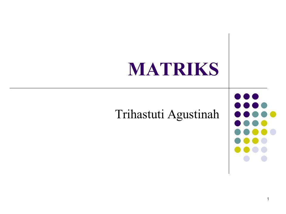 12 Partisi matriks (1) Matriks dibagi / dipartisi ke dalam matriks yang lebih kecil menyisipkan garis vertikal atau horizontal diantara baris atau kolom Contoh: