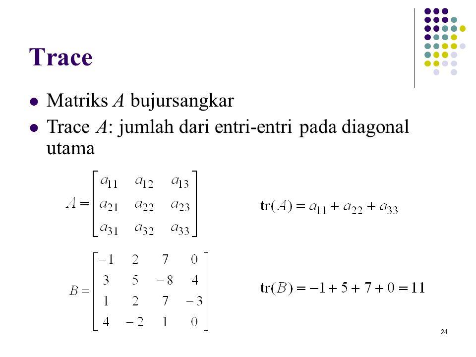 24 Trace Matriks A bujursangkar Trace A: jumlah dari entri-entri pada diagonal utama
