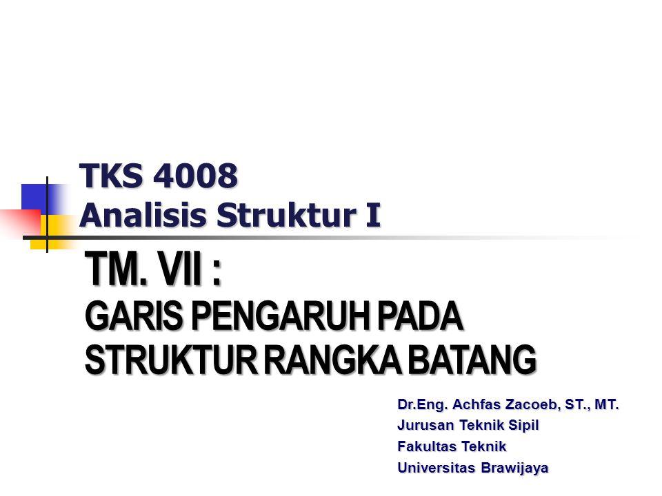 TKS 4008 Analisis Struktur I TM. VII : GARIS PENGARUH PADA STRUKTUR RANGKA BATANG Dr.Eng. Achfas Zacoeb, ST., MT. Jurusan Teknik Sipil Fakultas Teknik
