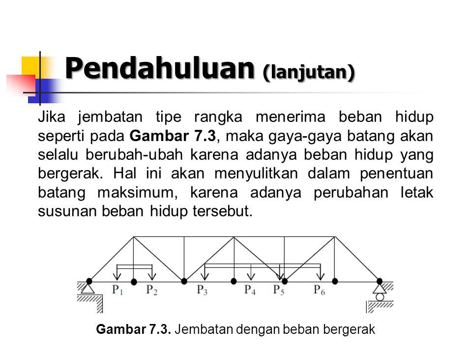 Pendahuluan (lanjutan) Jika jembatan tipe rangka menerima beban hidup seperti pada Gambar 7.3, maka gaya-gaya batang akan selalu berubah-ubah karena a