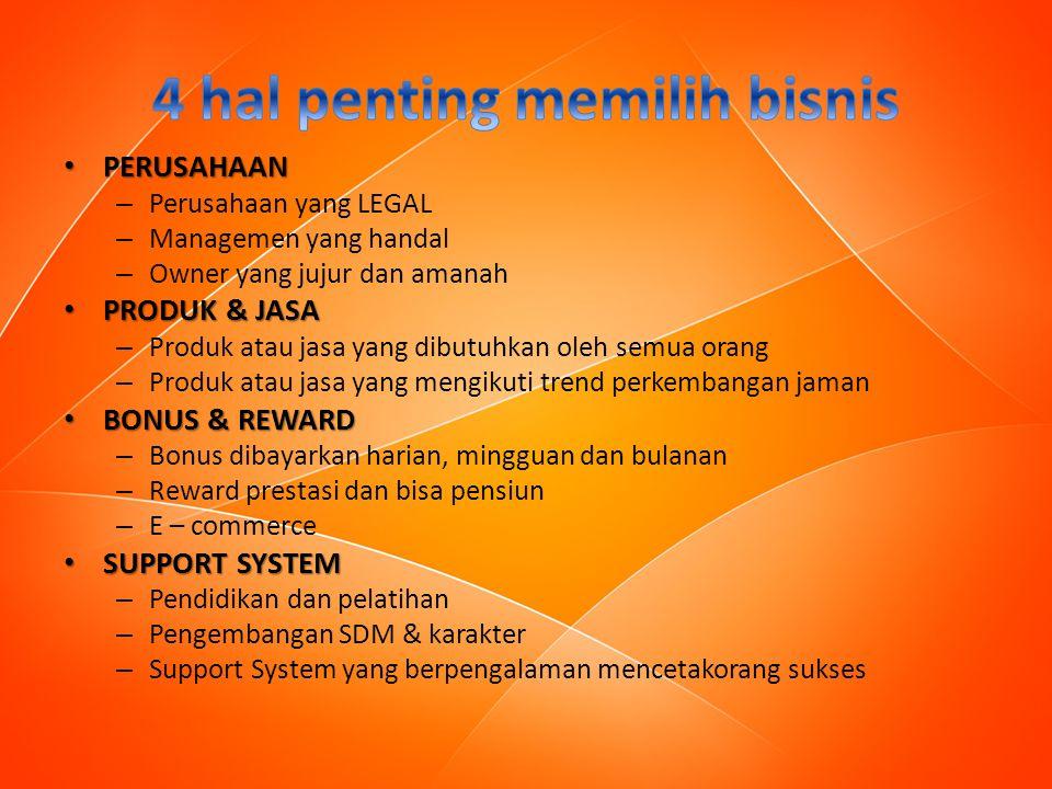 PERUSAHAAN PERUSAHAAN – Perusahaan yang LEGAL – Managemen yang handal – Owner yang jujur dan amanah PRODUK & JASA PRODUK & JASA – Produk atau jasa yan