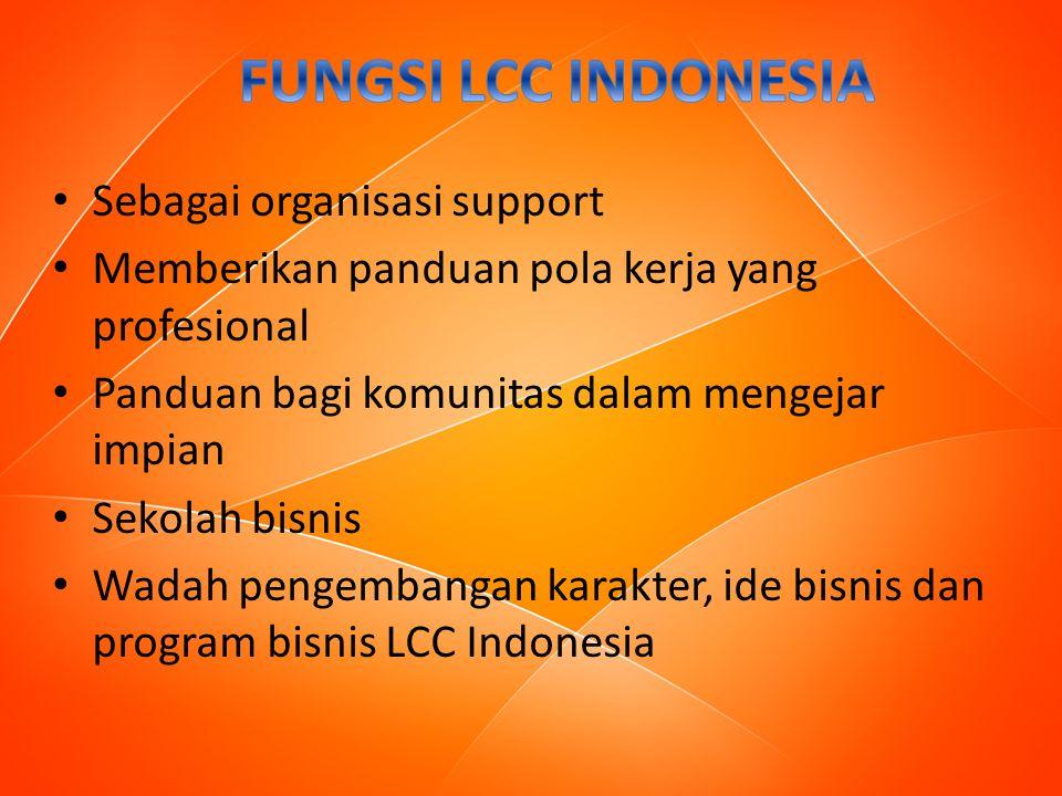 Sebagai organisasi support Memberikan panduan pola kerja yang profesional Panduan bagi komunitas dalam mengejar impian Sekolah bisnis Wadah pengembangan karakter, ide bisnis dan program bisnis LCC Indonesia