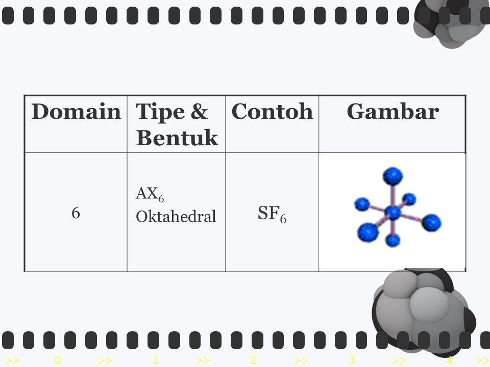 >>0 >>1 >> 2 >> 3 >> 4 >> DomainTipe & Bentuk ContohGambar 6 AX 6 Oktahedral SF 6