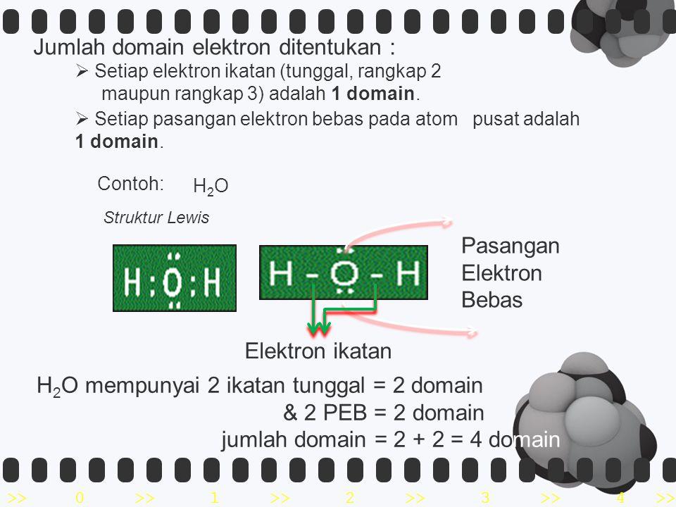 >>0 >>1 >> 2 >> 3 >> 4 >>  Setiap elektron ikatan (tunggal, rangkap 2 maupun rangkap 3) adalah 1 domain.