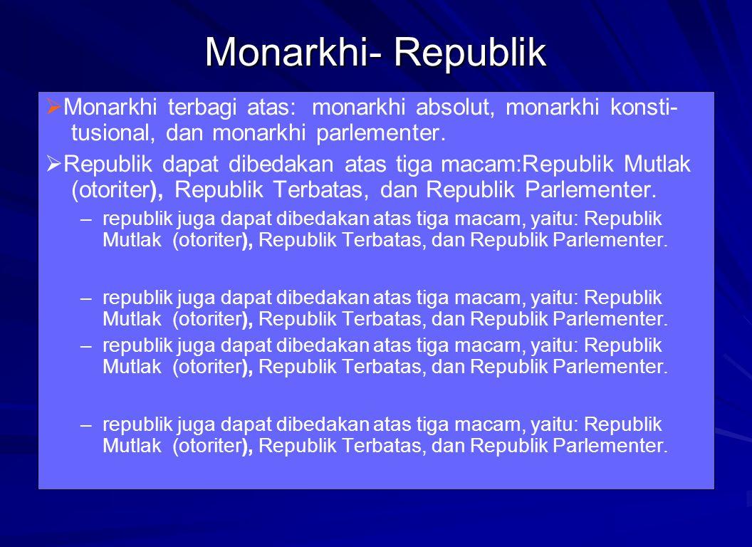 Monarkhi- Republik  Monarkhi terbagi atas: monarkhi absolut, monarkhi konsti- tusional, dan monarkhi parlementer.  Republik dapat dibedakan atas tig