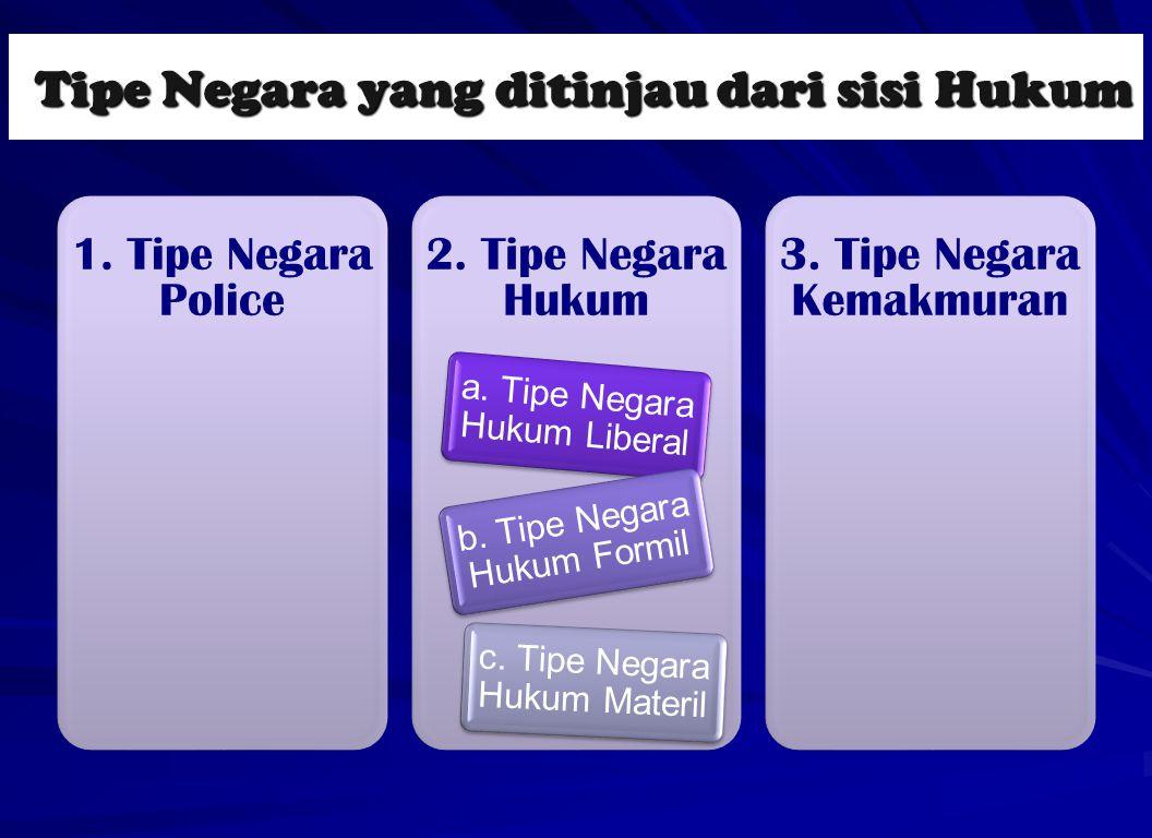 Tipe Negara yang ditinjau dari sisi Hukum Tipe Negara yang ditinjau dari sisi Hukum 1. Tipe Negara Police 2. Tipe Negara Hukum a. Tipe Negara Hukum Li