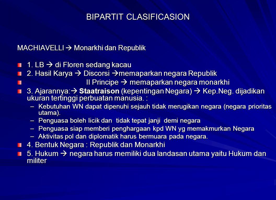 BIPARTIT CLASIFICASION MACHIAVELLI  Monarkhi dan Republik 1. LB  di Floren sedang kacau 2. Hasil Karya  Discorsi  memaparkan negara Republik Il Pr