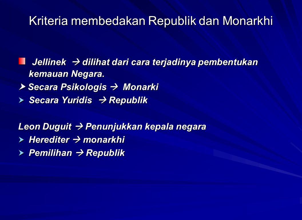 Kriteria membedakan Republik dan Monarkhi Jellinek  dilihat dari cara terjadinya pembentukan kemauan Negara. Jellinek  dilihat dari cara terjadinya