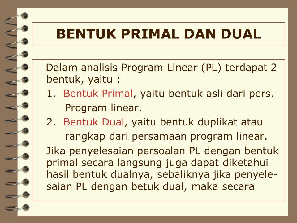 BENTUK PRIMAL DAN DUAL Dalam analisis Program Linear (PL) terdapat 2 bentuk, yaitu : 1.