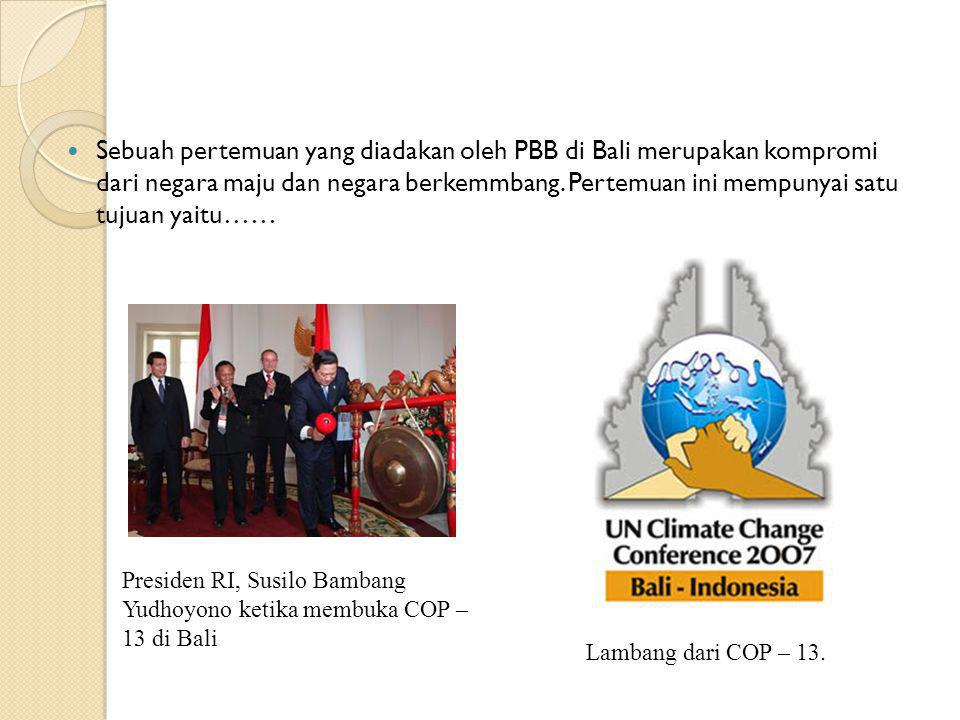 Sebuah pertemuan yang diadakan oleh PBB di Bali merupakan kompromi dari negara maju dan negara berkemmbang. Pertemuan ini mempunyai satu tujuan yaitu…
