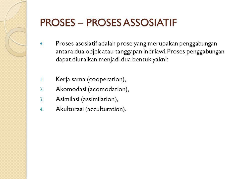 PROSES – PROSES ASSOSIATIF Proses asosiatif adalah prose yang merupakan penggabungan antara dua objek atau tanggapan indriawi. Proses penggabungan dap
