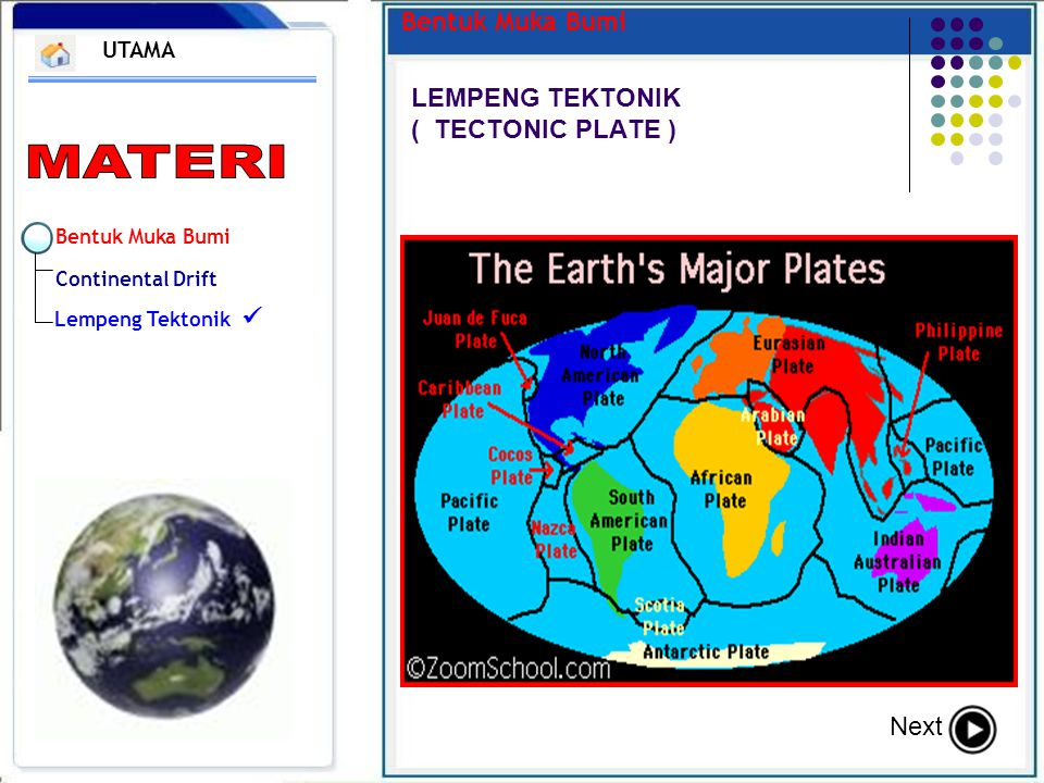 Bentuk Muka Bumi Continental Drift Lempeng Tektonik Bentuk Muka Bumi LEMPENG TEKTONIK ( TECTONIC PLATE ) UTAMA Next