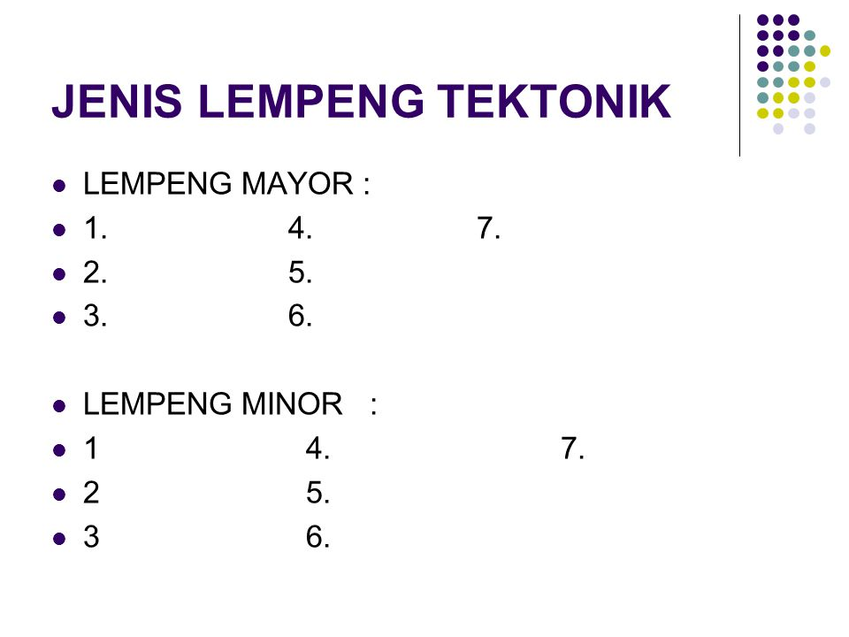 JENIS LEMPENG TEKTONIK LEMPENG MAYOR : 1. 4. 7. 2. 5. 3. 6. LEMPENG MINOR : 14.7. 25. 36.