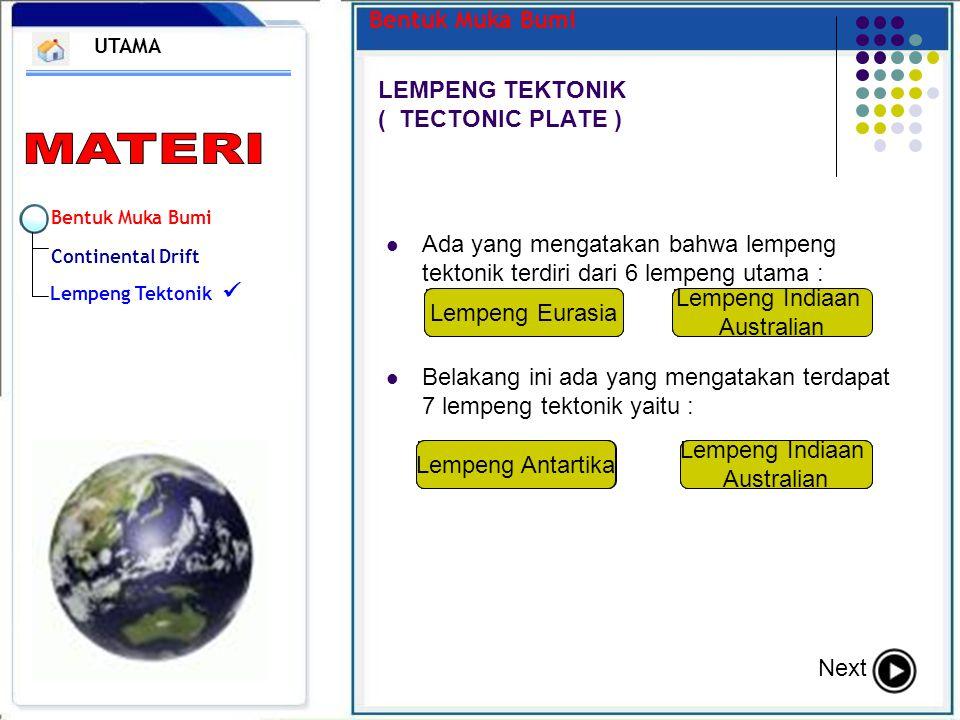Bentuk Muka Bumi Continental Drift Lempeng Tektonik Bentuk Muka Bumi LEMPENG TEKTONIK ( TECTONIC PLATE ) UTAMA Next Ada yang mengatakan bahwa lempeng