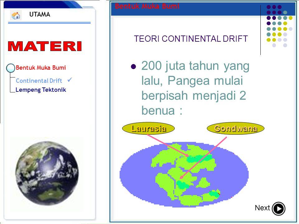 Bentuk Muka Bumi TEORI CONTINENTAL DRIFT UTAMA Next 200 juta tahun yang lalu, Pangea mulai berpisah menjadi 2 benua : Laurasia Gondwana Bentuk Muka Bu