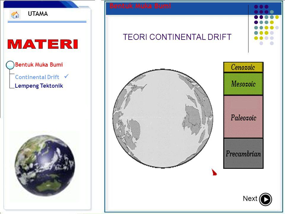 Bentuk Muka Bumi TEORI CONTINENTAL DRIFT UTAMA Next Bentuk Muka Bumi Continental Drift Lempeng Tektonik