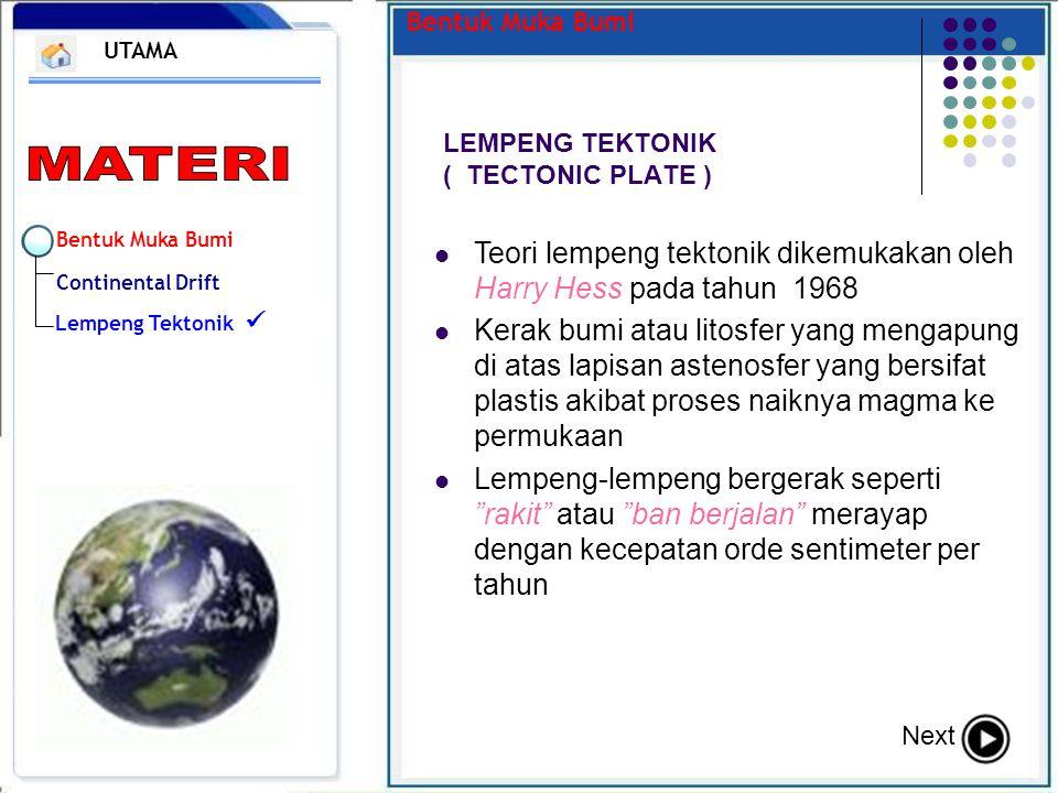 Bentuk Muka Bumi Continental Drift Lempeng Tektonik Bentuk Muka Bumi LEMPENG TEKTONIK ( TECTONIC PLATE ) UTAMA Next Teori lempeng tektonik dikemukakan