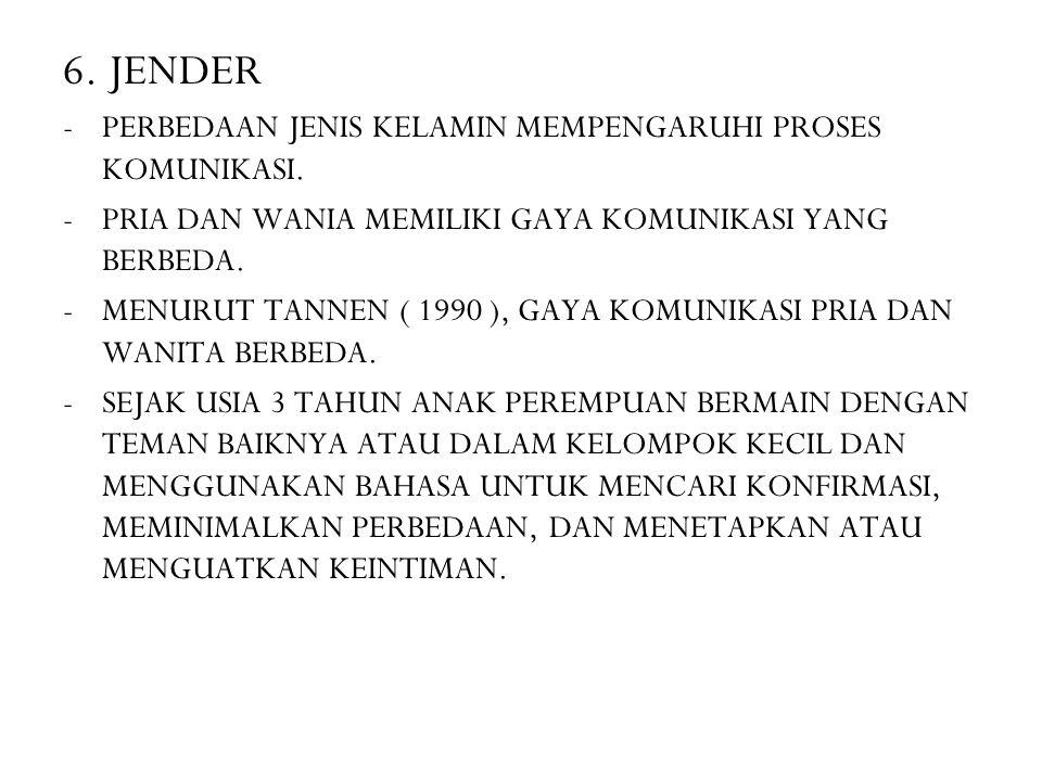 6. JENDER -PERBEDAAN JENIS KELAMIN MEMPENGARUHI PROSES KOMUNIKASI. -PRIA DAN WANIA MEMILIKI GAYA KOMUNIKASI YANG BERBEDA. -MENURUT TANNEN ( 1990 ), GA