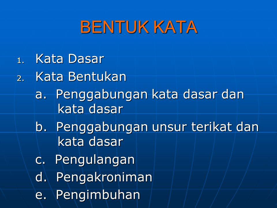 BENTUK KATA 1. Kata Dasar 2. Kata Bentukan a. Penggabungan kata dasar dan kata dasar b. Penggabungan unsur terikat dan kata dasar c. Pengulangan d. Pe