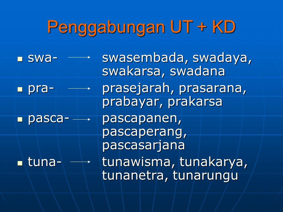 Penggabungan UT + KD swa-swasembada, swadaya, swakarsa, swadana swa-swasembada, swadaya, swakarsa, swadana pra-prasejarah, prasarana, prabayar, prakar