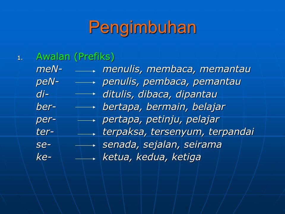 Pengimbuhan 1. Awalan (Prefiks) meN-menulis, membaca, memantau peN-penulis, pembaca, pemantau di-ditulis, dibaca, dipantau ber-bertapa, bermain, belaj