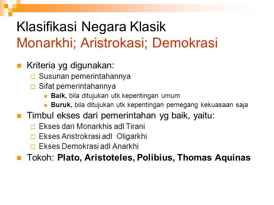 Klasifikasi Negara Klasik Monarkhi; Aristrokasi; Demokrasi Kriteria yg digunakan:  Susunan pemerintahannya  Sifat pemerintahannya Baik, bila ditujuk