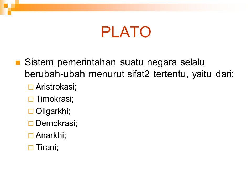 PLATO Sistem pemerintahan suatu negara selalu berubah-ubah menurut sifat2 tertentu, yaitu dari:  Aristrokasi;  Timokrasi;  Oligarkhi;  Demokrasi;