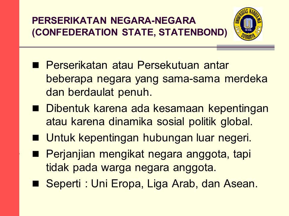 PERSERIKATAN NEGARA-NEGARA (CONFEDERATION STATE, STATENBOND) Perserikatan atau Persekutuan antar beberapa negara yang sama-sama merdeka dan berdaulat penuh.