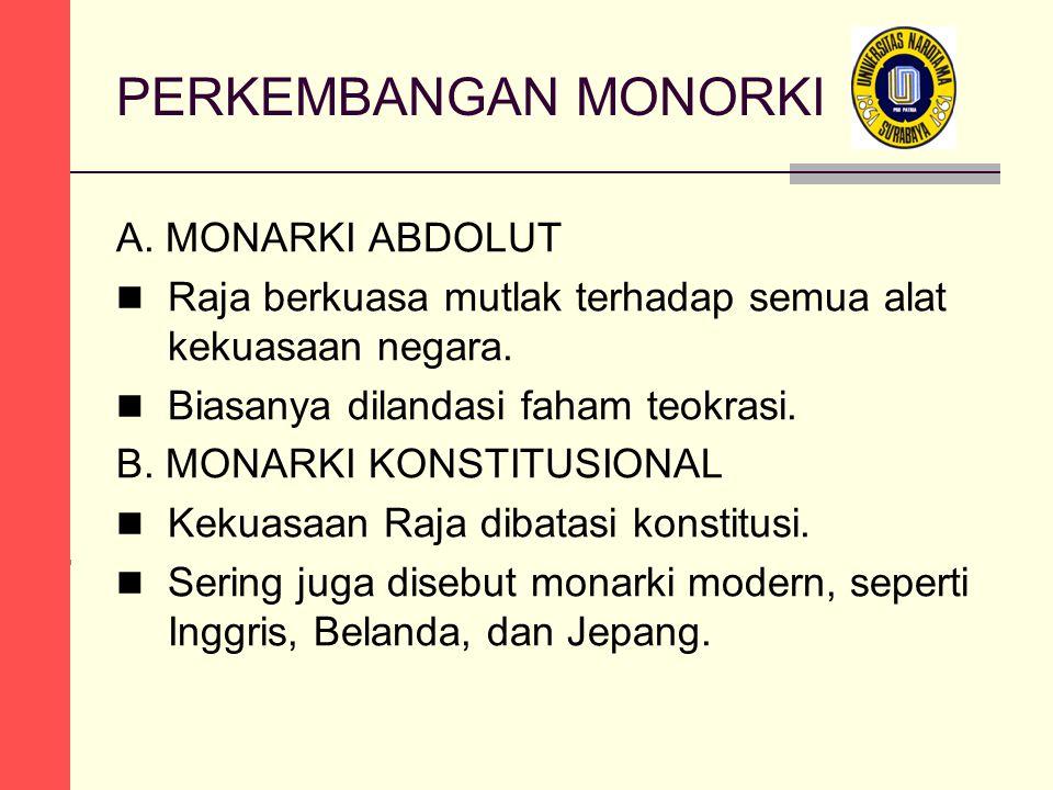 PERKEMBANGAN MONORKI A. MONARKI ABDOLUT Raja berkuasa mutlak terhadap semua alat kekuasaan negara.
